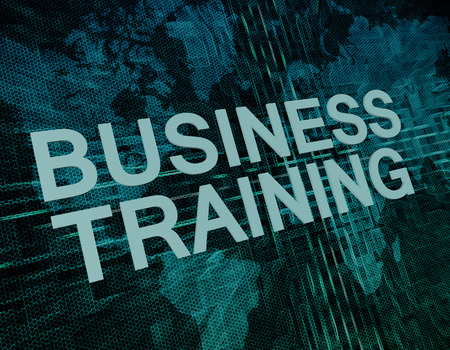 knowlage: Business Training text concept on green digital world map background  Stock Photo