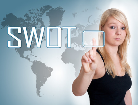 Young woman press digital SWOT for strengths, weaknesses, opportunities and threats button on interface in front of her photo