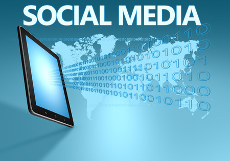 Social media illustration with tablet computer on blue background illustration