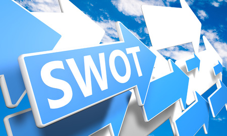 weaknesses: SWOT for strengths, weaknesses, opportunities and threats 3d render concept with blue and white arrows flying upwards in a blue sky with clouds Stock Photo
