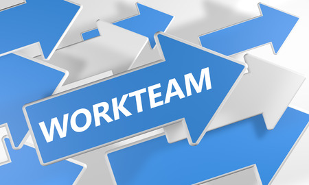 workteam: Workteam 3d render concept with blue and white arrows flying upwards over a white background. Stock Photo