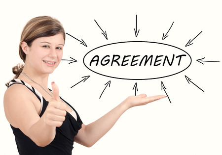 concur: Young businesswoman introduce Agreement process information concept. Isolated on white.