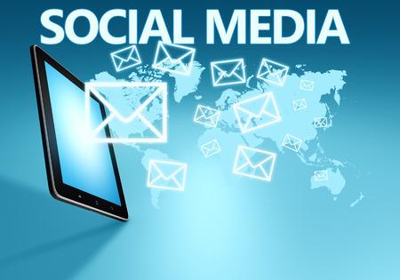 Social media illustration with tablet computer on blue background illustration