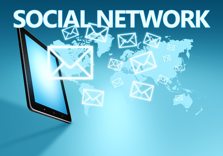 Social network illustration with tablet computer on blue background illustration