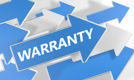 Warranty 3d render concept with blue and white arrows flying upwards over a white background. photo