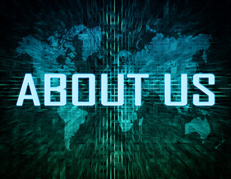 About us text concept on green digital world map background