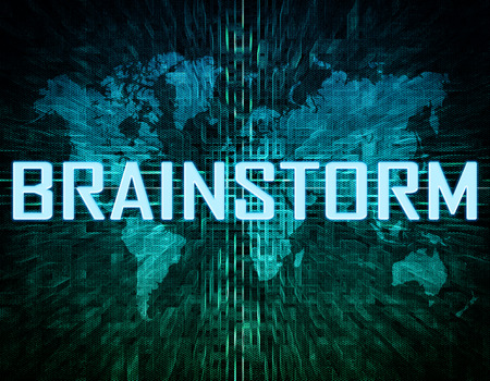 Brainstorm text concept on green digital world map background  photo