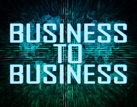 Business to Business text concept on green digital world map background