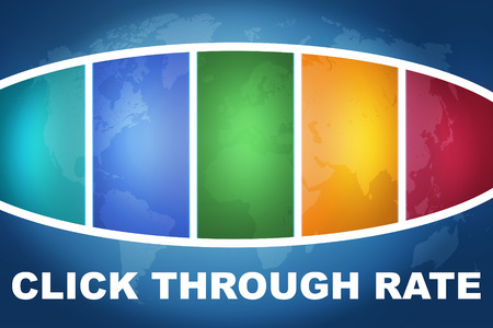advertiser: Click Through Rate text illustration concept on blue background with colorful world map Stock Photo