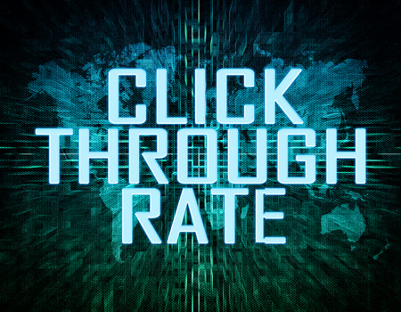 Click Through Rate text concept on green digital world map background  photo