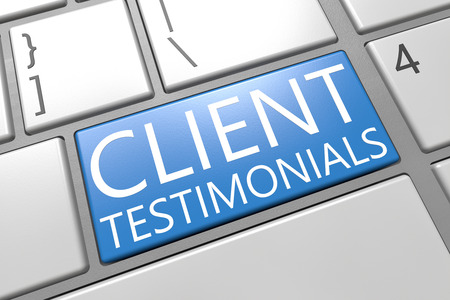 Client Testimonials - keyboard 3d render illustration with word on blue key
