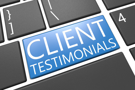 Client Testimonials - keyboard 3d render illustration with word on blue key illustration