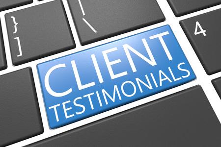 Client Testimonials - toetsenbord 3d render illustratie met woord op blauwe toets Stockfoto