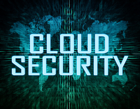 Cloud Security text concept on green digital world map background  photo