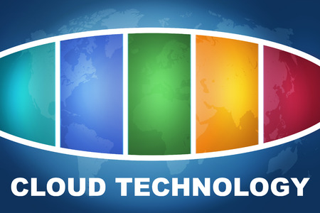 Cloud Technology text illustration concept on blue background with colorful world map illustration
