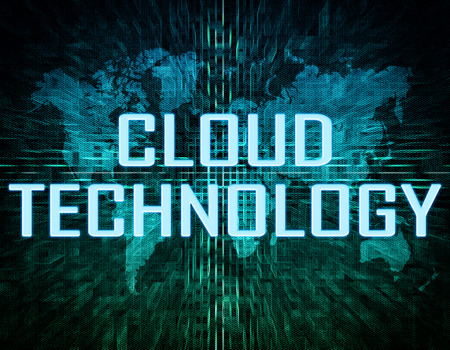 Cloud Technology text concept on green digital world map background  photo