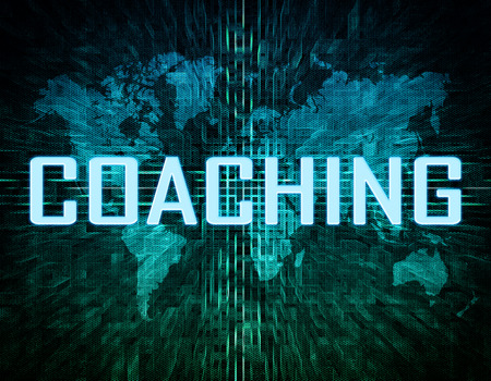 knowlage: Coaching text concept on green digital world map background  Stock Photo