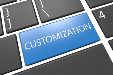 customized: Customization - keyboard 3d render illustration with word on blue key