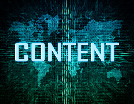 Content text concept on green digital world map background  photo