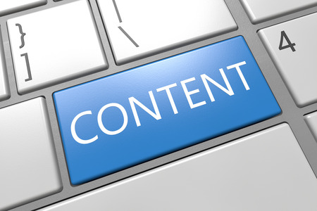 Content - keyboard 3d render illustration with word on blue key illustration