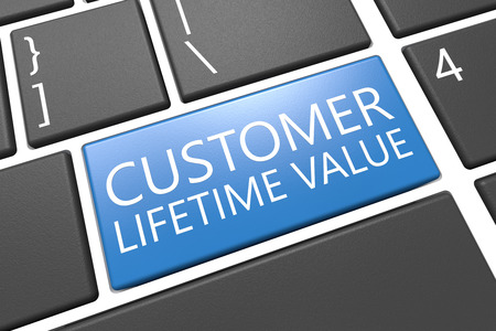 lifetime: Customer Lifetime Value - keyboard 3d render illustration with word on blue key Stock Photo