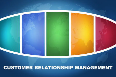 Customer Relationship Management text illustration concept on blue background with colorful world map illustration