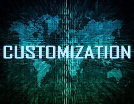 Customization text concept on green digital world map background  photo