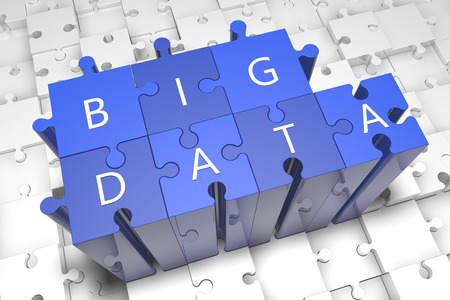 Big data - puzzle 3d render illustration with text on blue jigsaw pieces stick out of white pieces