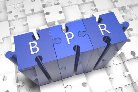 bpr: Business Process Reengineering - puzzle 3d render illustration with text on blue jigsaw pieces stick out of white pieces Stock Photo