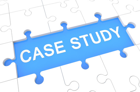 case studies: Case Study - puzzle 3d render illustration with word on blue background Stock Photo