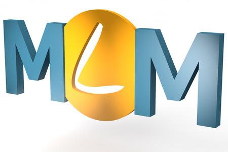 multi level: Multi Level Marketing - acronym 3d render illustration concept
