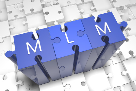Multi Level Marketing - puzzle 3d render illustration with text on blue jigsaw pieces stick out of white pieces illustration