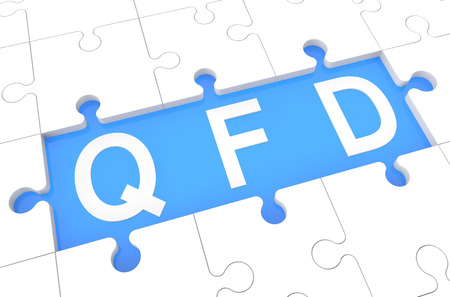 Quality Function Deployment - puzzle 3d render illustration with word on blue background