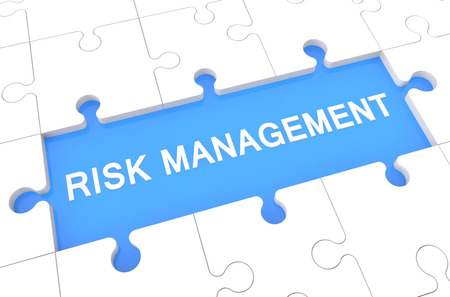 Risk Management - puzzle 3d render illustration with word on blue background illustration