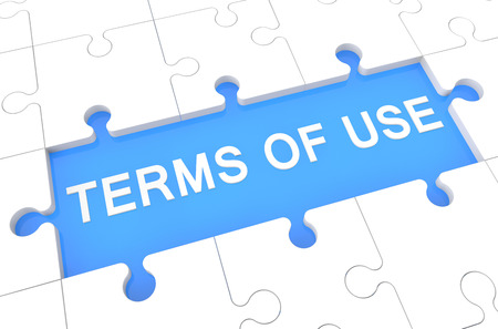 Terms of use - puzzle 3d render illustration with word on blue background Stock Photo