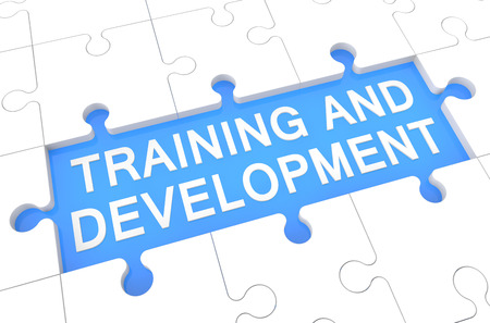 career coach: Training and Development - puzzle 3d render illustration with word on blue background