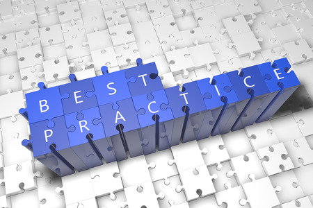 Best Practice - puzzle 3d render illustration with text on blue jigsaw pieces stick out of white pieces illustration