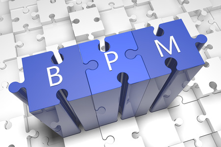 bpm: Business Process Management - puzzle 3d render illustration with text on blue jigsaw pieces stick out of white pieces