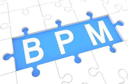 Business Process Management - puzzle 3d render illustration with word on blue background illustration