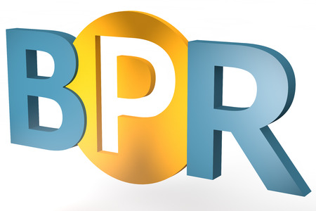 business process reengineering: Business Process Reengineering - acronym 3d render illustration concept