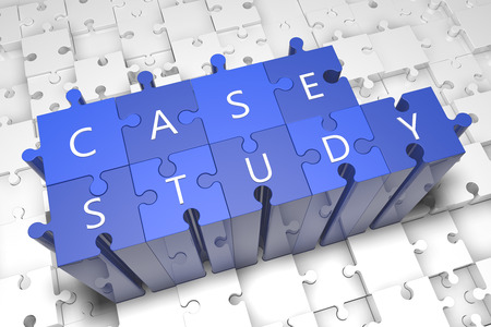 study icon: Case Study - puzzle 3d render illustration with text on blue jigsaw pieces stick out of white pieces Stock Photo
