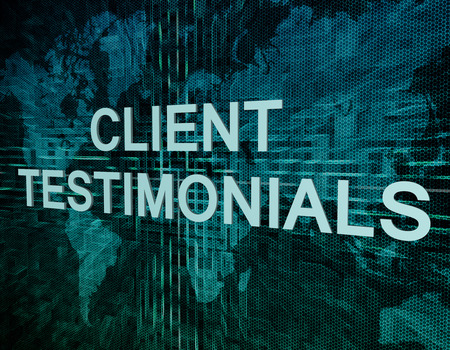 affirmations: Client Testimonials text concept on green digital world map background