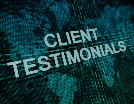 Client Testimonials text concept on green digital world map background  photo