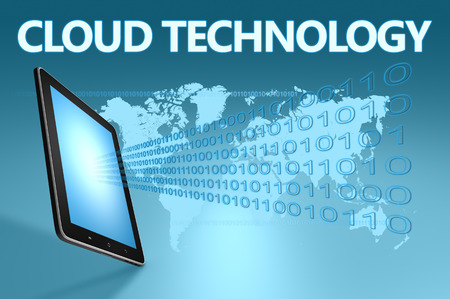 Cloud Technology illustration with tablet computer on blue background illustration