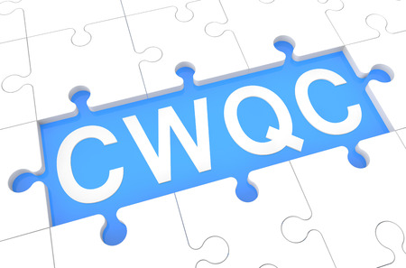 Company Wide Quality Control - puzzle 3d render illustration with word on blue background illustration