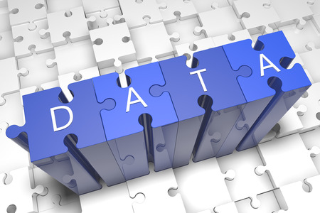 Data - puzzle 3d render illustration with text on blue jigsaw pieces stick out of white pieces illustration