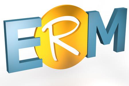 erm: Enterprise RiskResource Management - acronym 3d render illustration concept Stock Photo