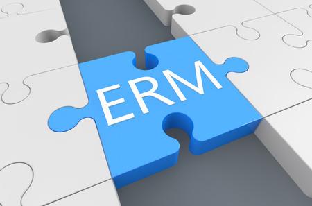 erm: Enterprise RiskResource Management - puzzle 3d render illustration Stock Photo
