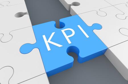 implement: Key Performance Indicator - puzzle 3d render illustration