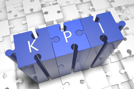 Key Performance Indicator - puzzle 3d render illustration with text on blue jigsaw pieces stick out of white pieces illustration